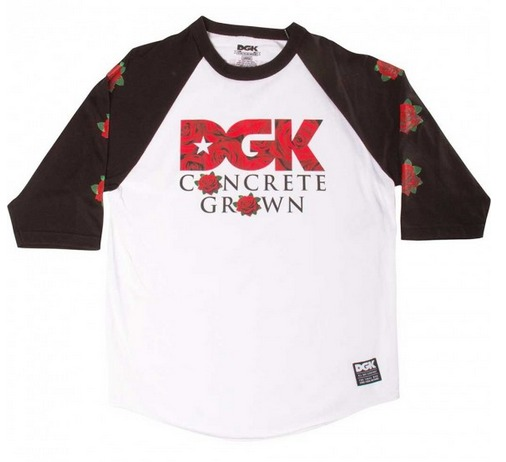 DGK Skateboards Roses White-Black 3-4 Raglan Tee