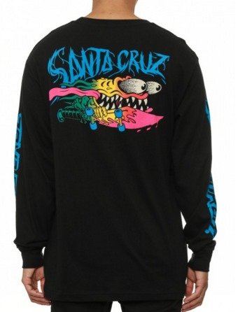Santa Cruz Skateboards Slasher Fade Black Long Sleeve Tee