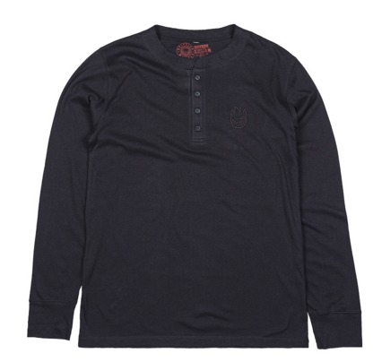 Spitfire Skateboard Wheels Stock Bighead Embroidered Black Longsleeve Henley
