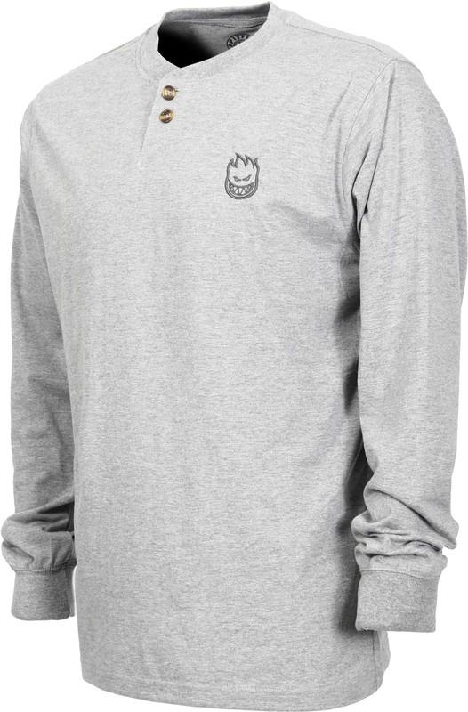 Spitfire Skateboard Wheels Stock Bighead Henley Grey Long Sleeve Tee.