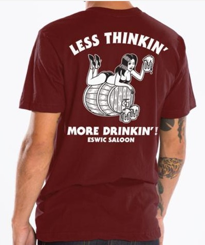 ESWIC Less Thinkin' Burgundy Tee