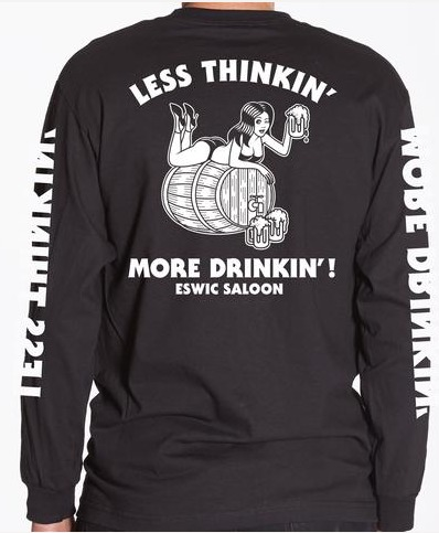 Eswic Less Thinkin' Black Long Sleeve Tee
