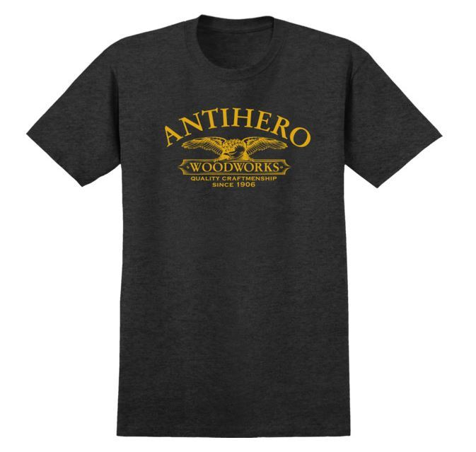 Anti Hero Skateboards Woodworks Black Heather/Yellow Skateboard Tee