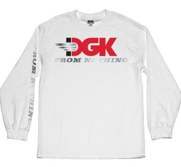 DGK Skateboards Racer Long Sleeve White Tee