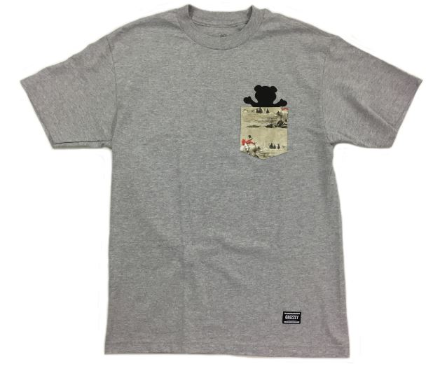 Grizzly Hunting Lodge Grey Pocket Tee