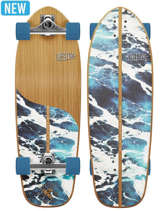 OBfive Skateboards White Wash Surf Skate RKP1 Complete