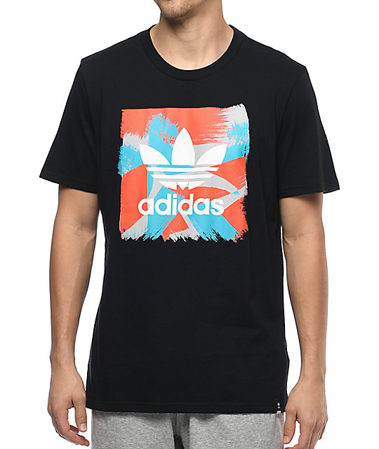 Adidas Courtside Blackbird Logo Black-White-Energy Red T-Shirt
