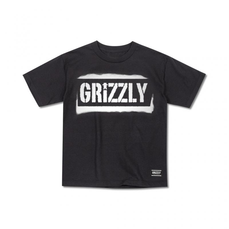 Grizzly Stencil Stamp Black Tee