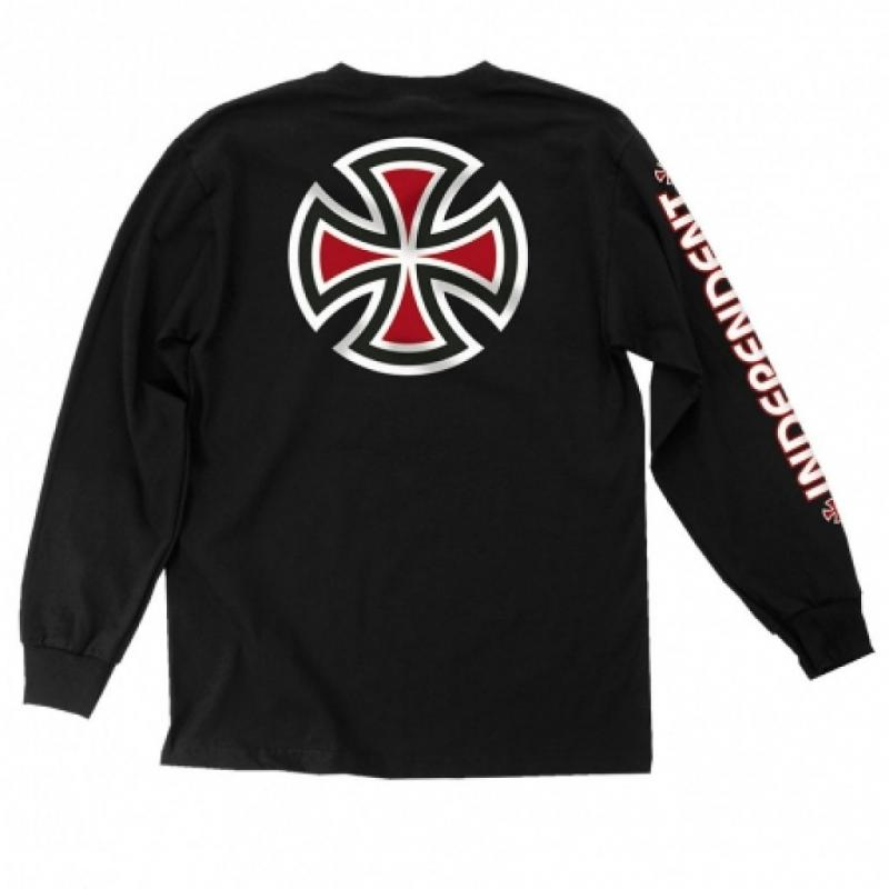 Independent Lines Bar Cross Black Long Sleeve Tee