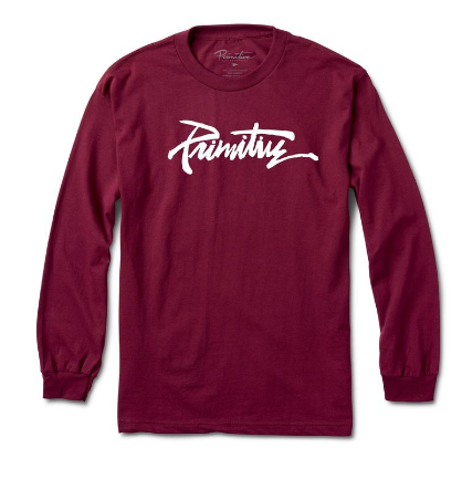 Primitive Skateboards Thrashed Burgundy Long Sleeve Tee