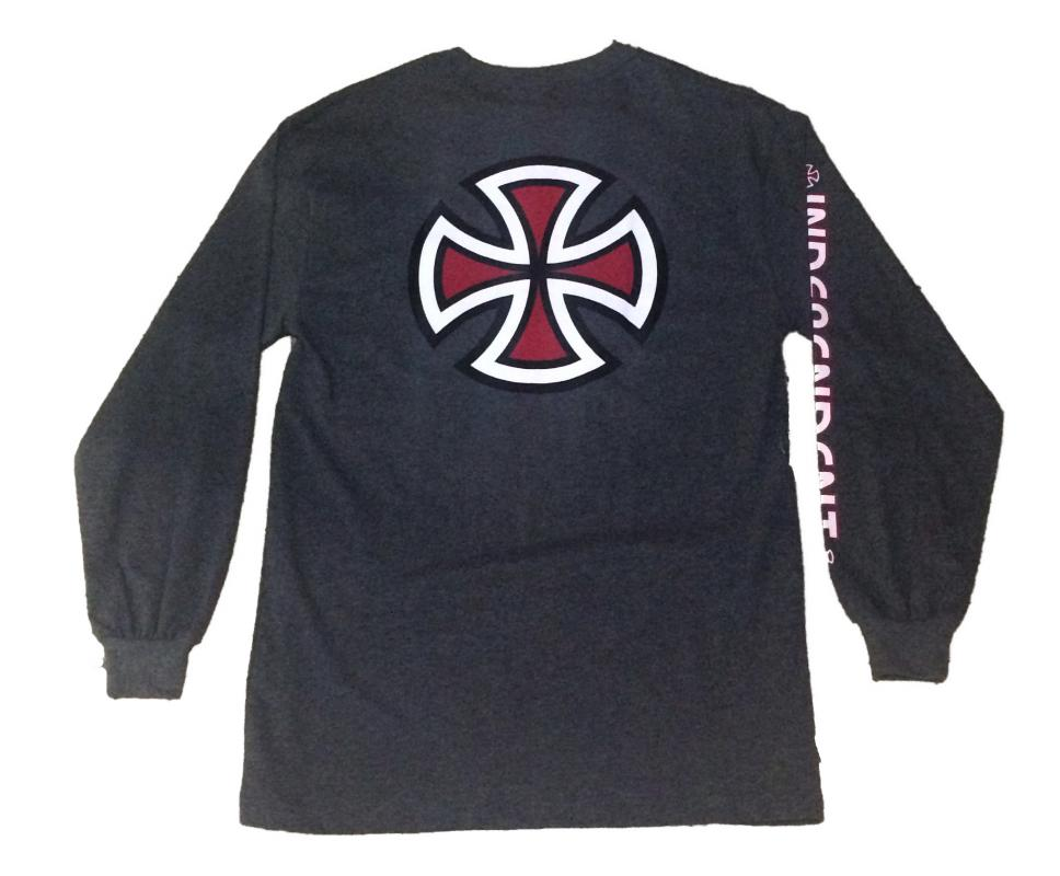 Independent Bar Cross Charcoal Heather Long Sleeve Tee