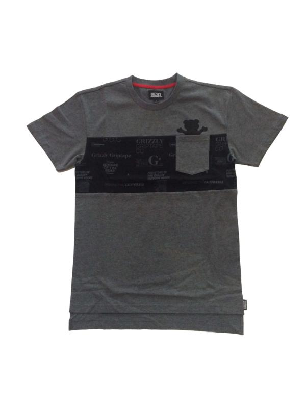 Grizzly Front Runner Charcoal Pocket Skateboard Tee