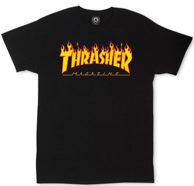 Thrasher Flame Black Skateboard Tee