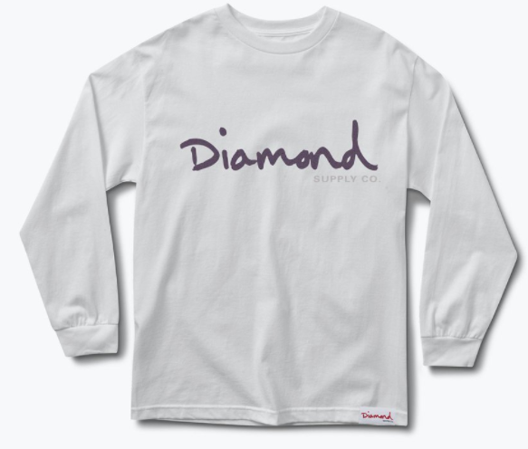 Diamond Supply Co. OG Script White Long Sleeve Tee