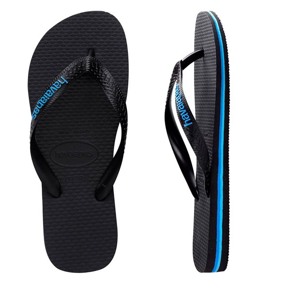 Havaianas Men's Rubber Logo Black/Blue Thongs