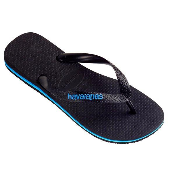 Havaianas Men's Rubber Logo Black-Blue Thongs1