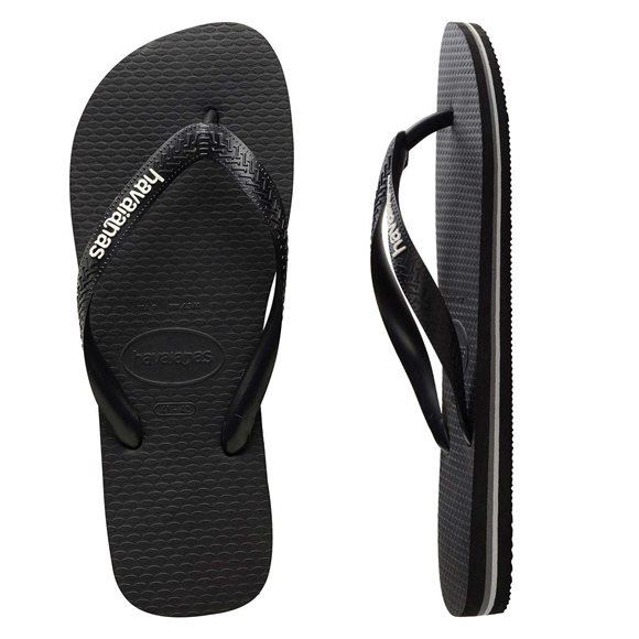 Havaianas Men's Rubber Logo Black-Glacial White Thongs