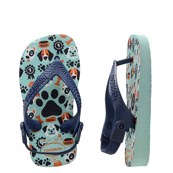 Havaianas Pets Ice Blue-Navy Blue Baby Thongs