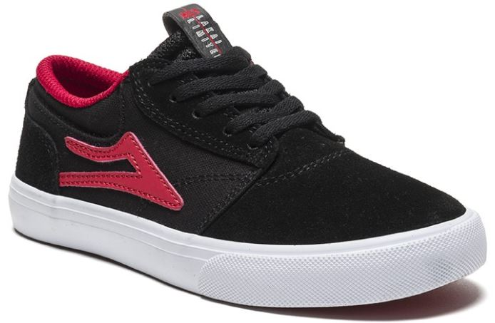Lakai Griffin Black/Red Suede Kids Shoes