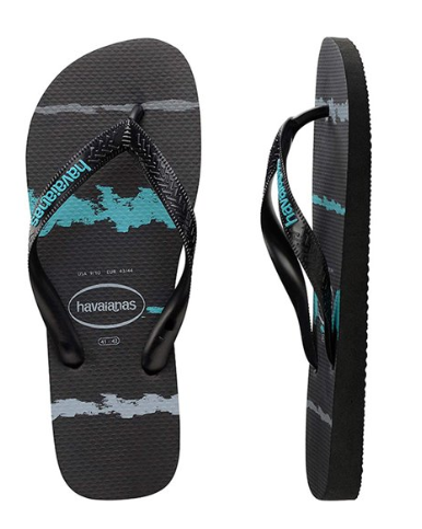 Havaianas Kids Tropical Glitch Black/Blue Thongs