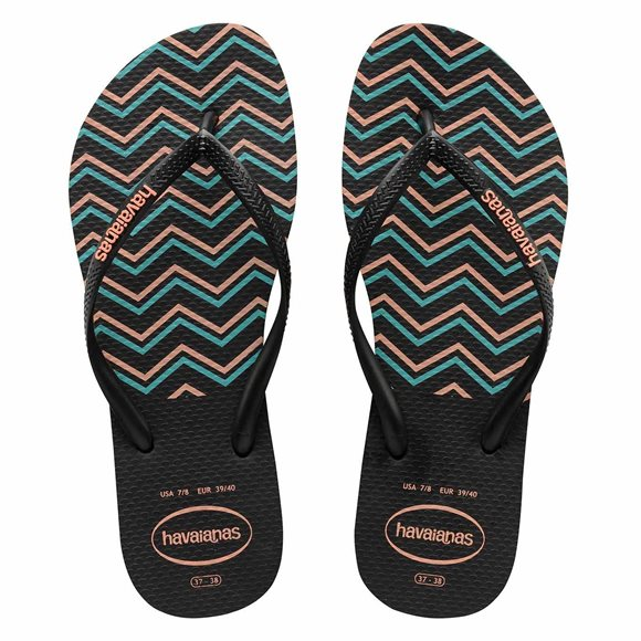 Havaianas Kids Zig Zag Black/Salmon Thongs