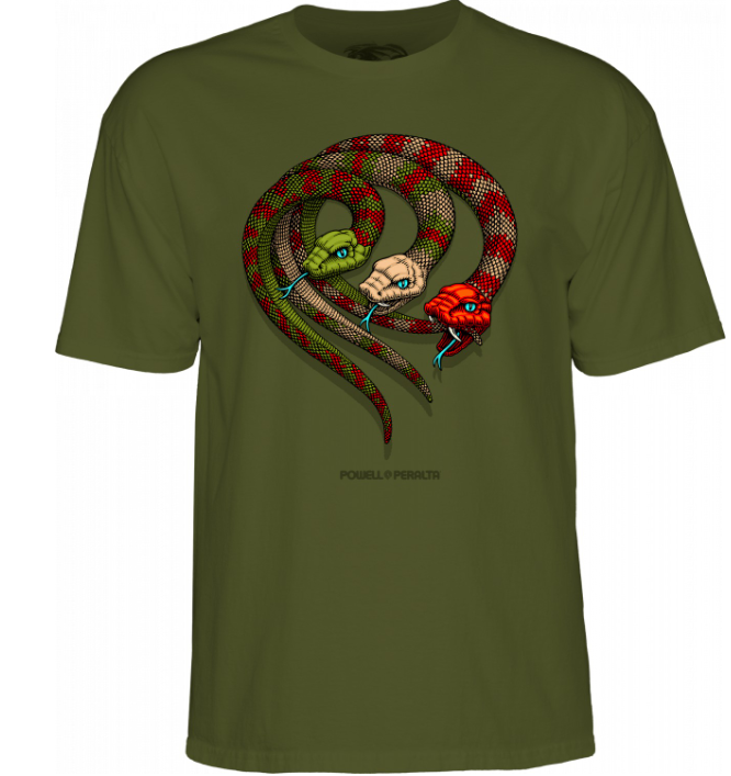 Powell Peralta Snakes Military Green Tee