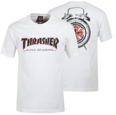 Thrasher x Independent Time to Grind White Tee