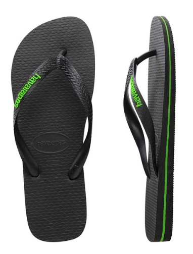 Havaianas Men's Rubber Logo Black/Neon Green Thongs