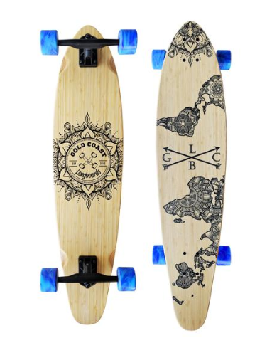 "Gold Coast Longboards Wanderlust Blue Swirl 38"" Kicktail Complete"