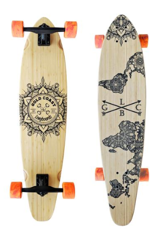 "Gold Coast Longboards Wanderlust Orange Swirl 38"" Kicktail Complete"