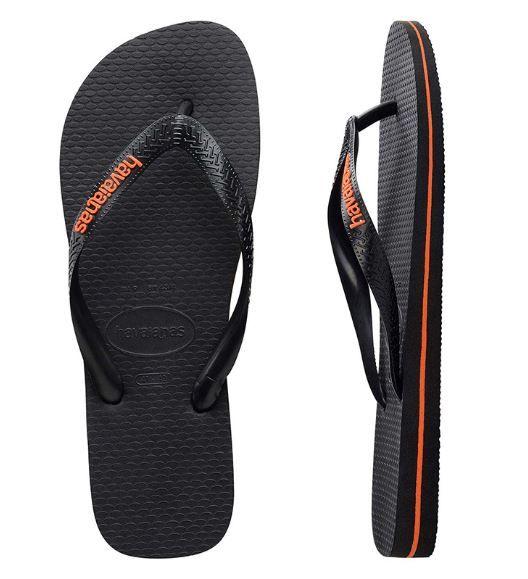 Havaianas Men's Rubber Logo Black/Neon Orange Thongs