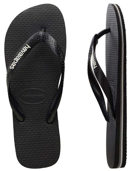 Havaianas Men's Black/Glacial White Thongs