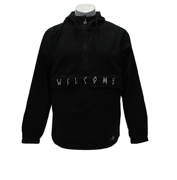 Welcome Scrawl Twill Black/White Anorak Jacket