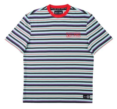 Welcome Surf Stripe Red/Purple/Teal Tee