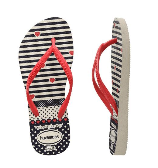 Havaianas Kids Slim Fashion White/Red Thongs