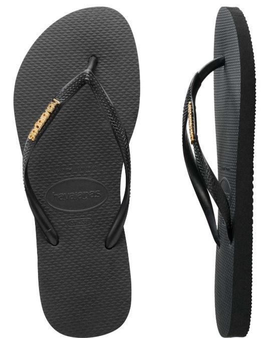 Havaianas Women's Metal Logo Black/Gold Thongs
