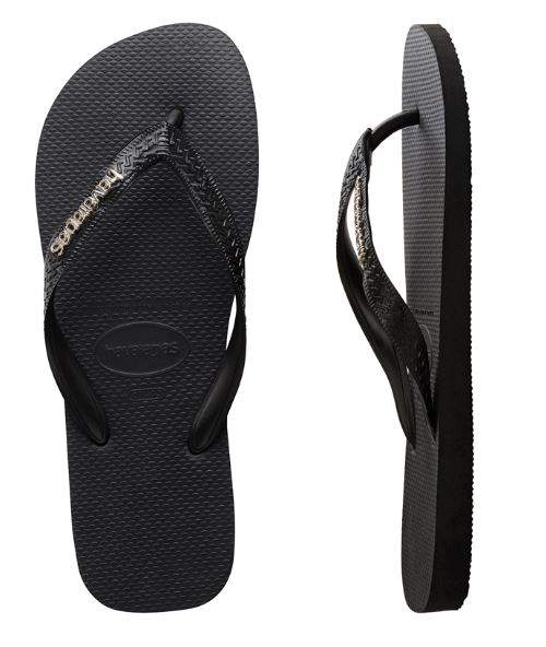 Havaianas Women's Metal Logo Black/Silver Thongs