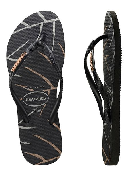 Havaianas Women's Slim Metal Logo Print (Leaf) Black/Rose Thongs