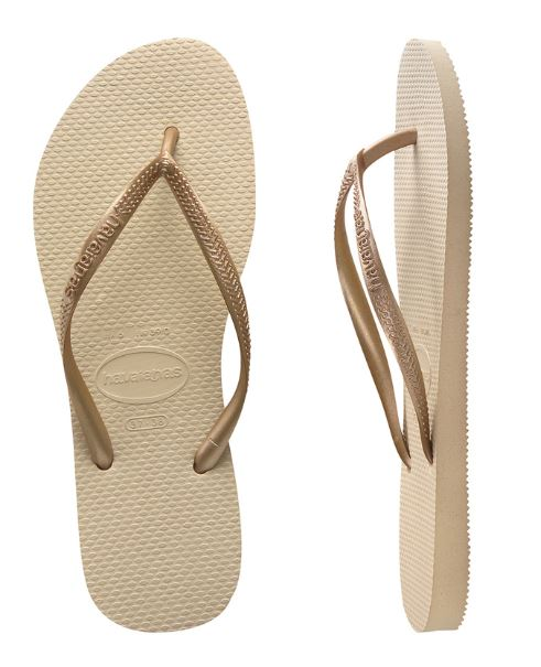 Havaianas Women's Slim Metallic Sand Gray/Light Golden Thongs