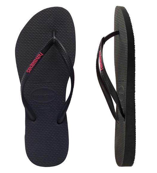 Havaianas Women's Slim Rubber Logo Black/Neon Pink Thongs
