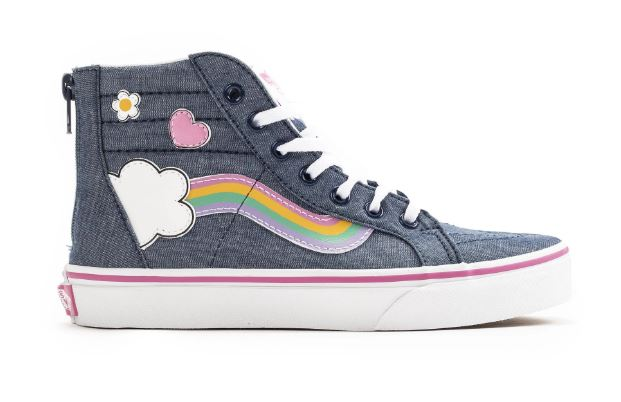 Vans Sk8-Hi Rainbow Sidestripe Navy Youth Shoes
