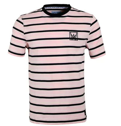 Welcome Icon Stripe Light Pink Tee