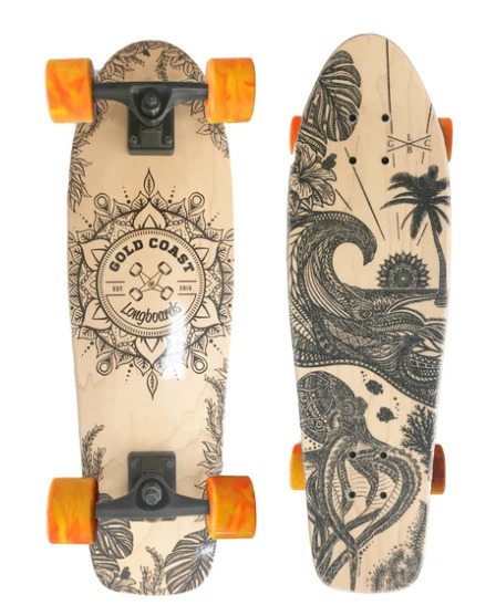 Gold Coast Longboards Aloha Edition Orange Swirl Cruiser Skateboard Complete