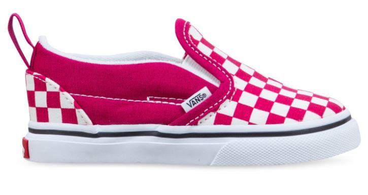 Vans Checkerboard Slip-On Cerise/True White Toddler Shoes